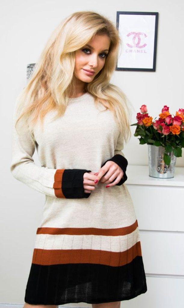 Jedinečné pletené šaty - UNI (S-L)  Beige