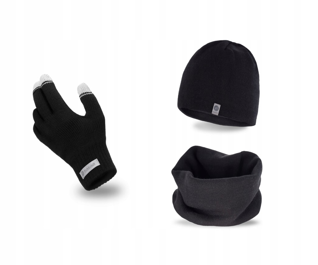 Luxusní pánská sada - čepice, tunel, rukavice - black