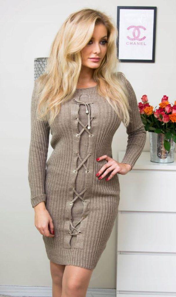 Luxusní šaty se zdobením - latte - S/M