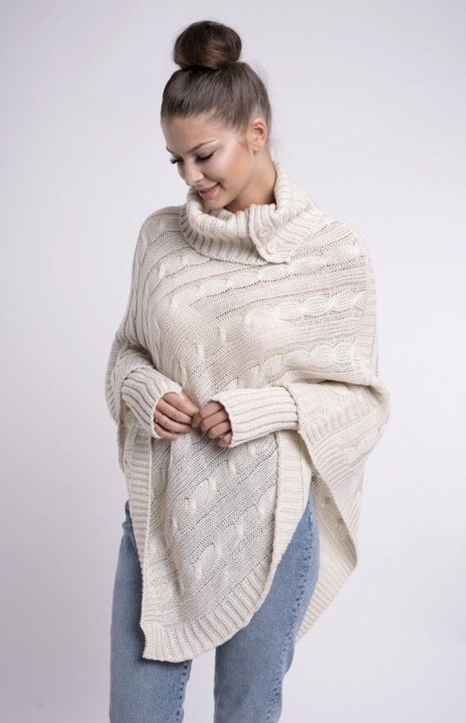 Dámské pletené pončo se sundávajicími rukavicemi - UNI (S-L)  Beige