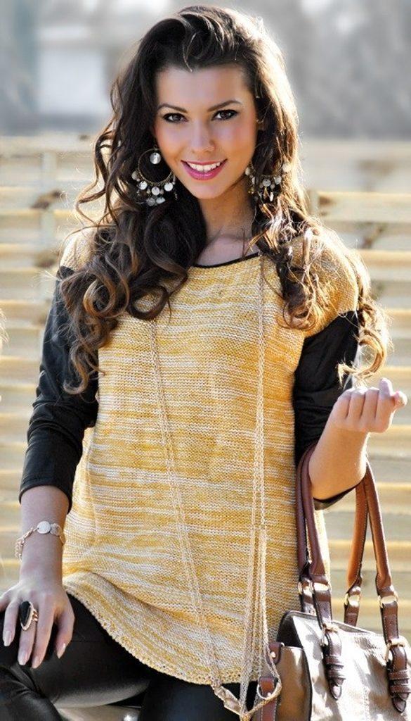 Luxusní dámský svetr s rukávy z eko kůže - UNI (S-L)  Yellow