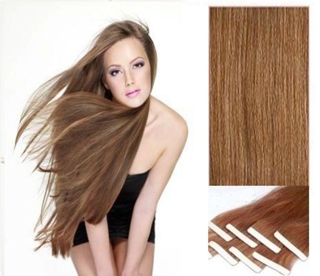 TAPEX vlasy - 100% Lidské vlasy REMY, světle hnědé