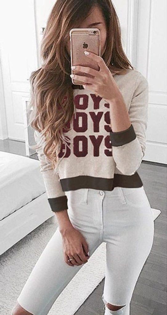 Dámský stylový svetr s nápisem - UNI (S-L)