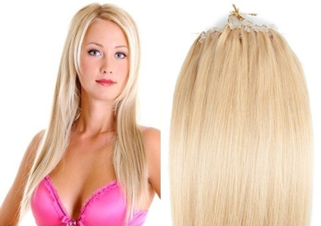 MICRO LOOP/ MICRO RING- 100% Lidské vlasy k prodloužení REMY, přírodní Blond 55cm