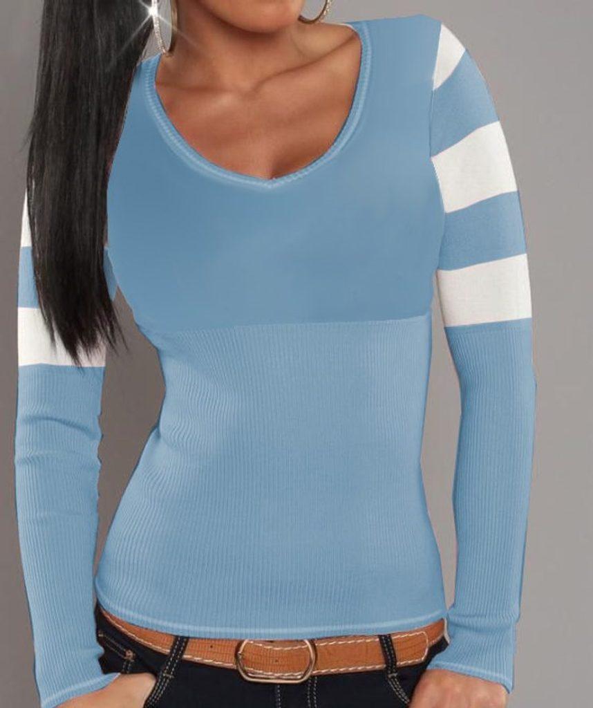 Dámský pruhovaný svetřík - UNI (S-L)  Pink