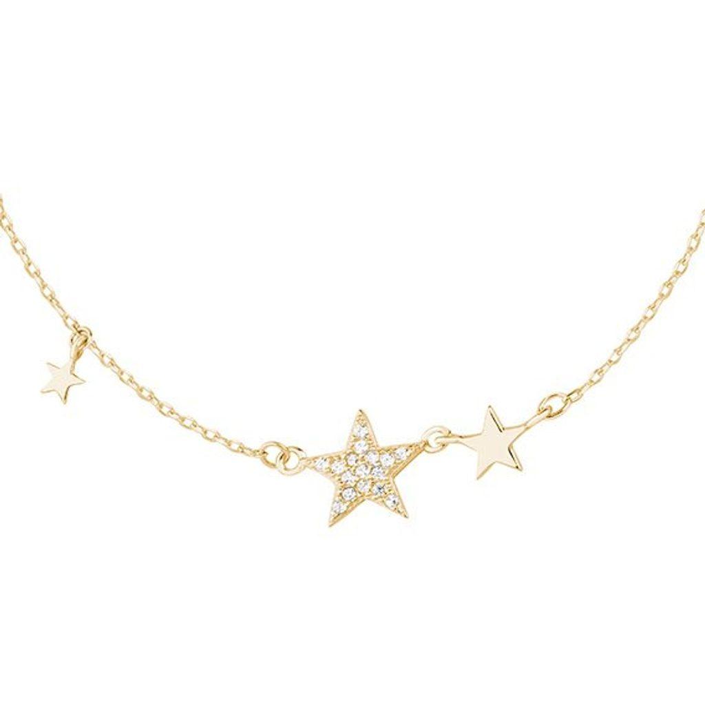 Stříbrný pozlacený náhrdelník hvězdičky