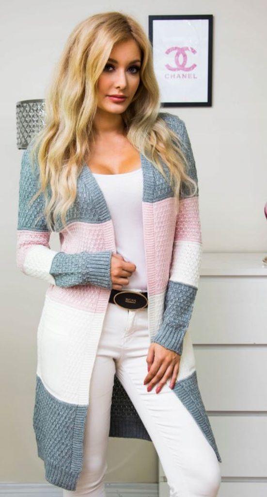 Luxusní pruhovaný svetr - UNI (S-XL)  Light grey