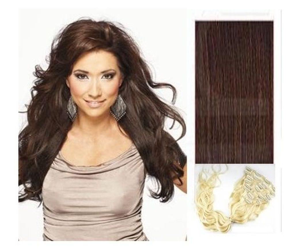 CLIP IN vlasy - 100% Lidské vlasy k prodloužení REMY, tmavě hnědá - vlnité - 40cm