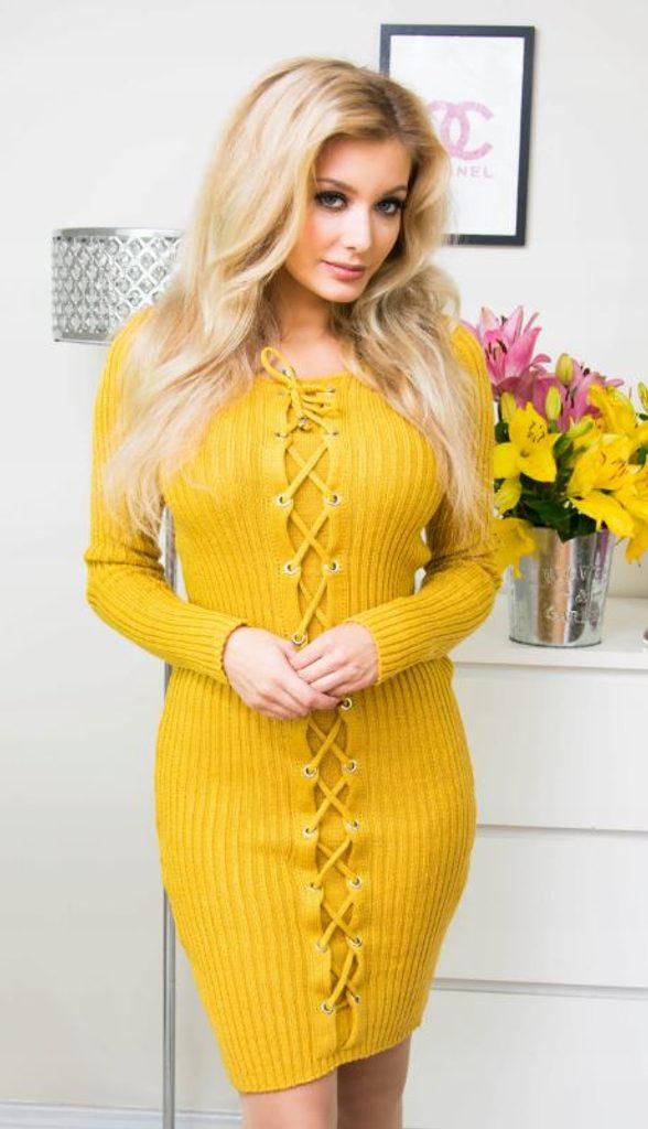 Luxusní šaty se zdobením - yellow - S/M