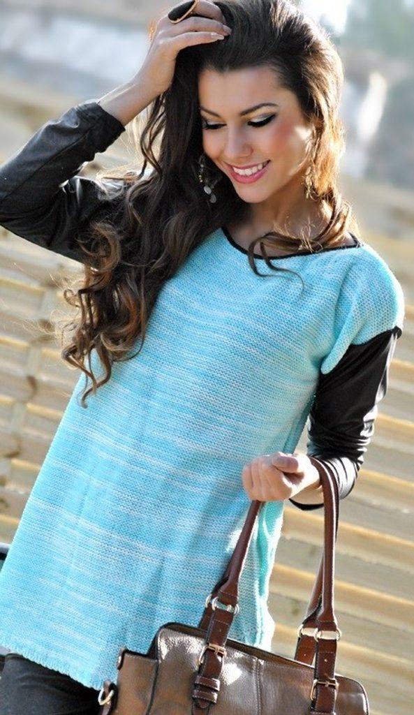 Luxusní dámský svetr s rukávy z eko kůže - UNI (S-L)  Mint