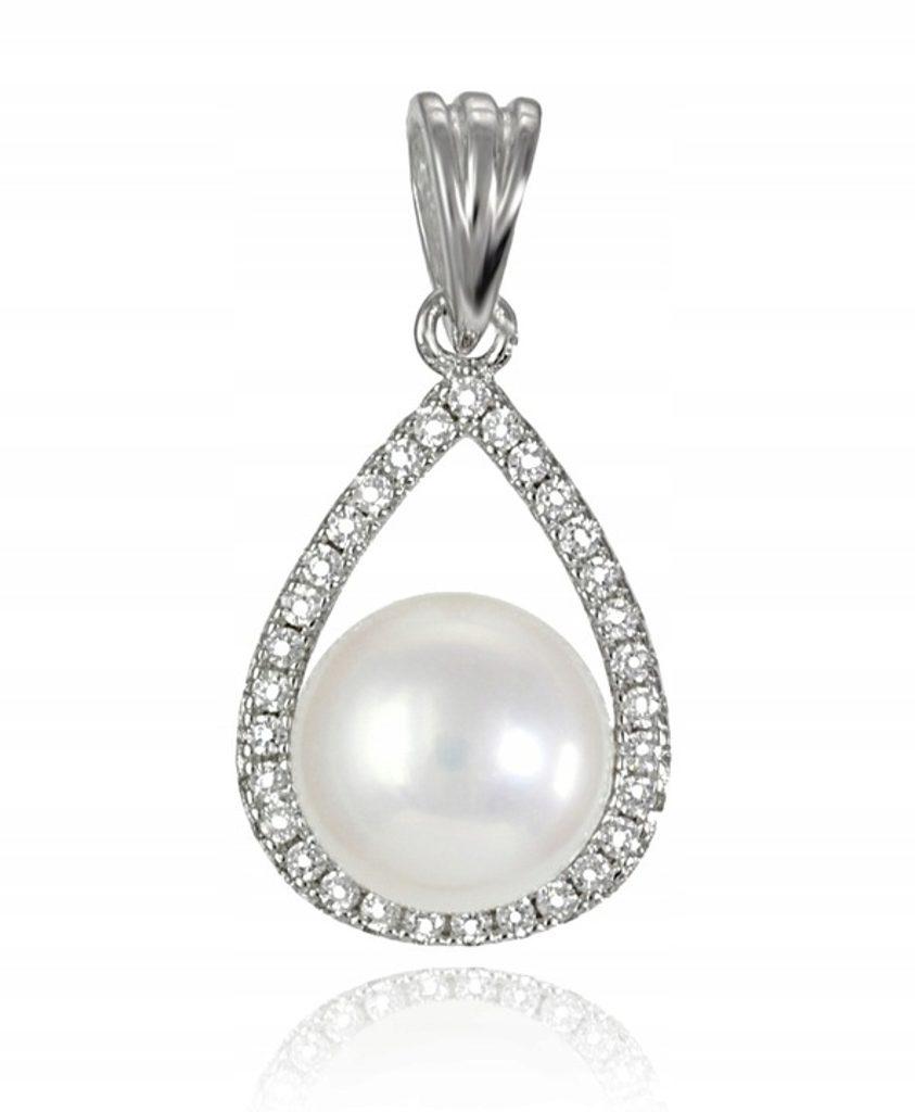 Stříbrný přívěsek ve tvaru kapky s perlou a kamínky