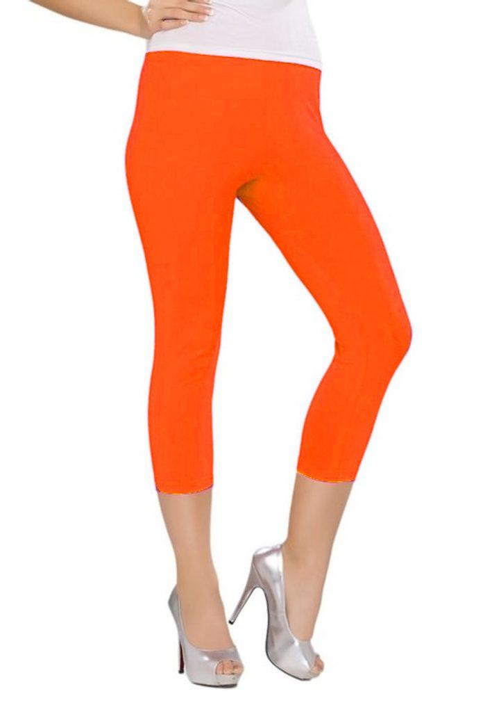 Elastické 3/4 legíny - neon orange - UNI (S-L)