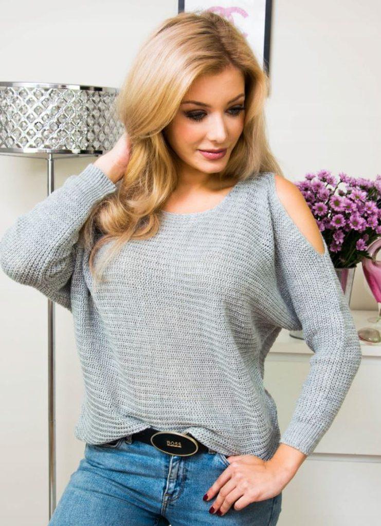 Moderní svetr s průstřihy na ramenou - UNI (S-L)