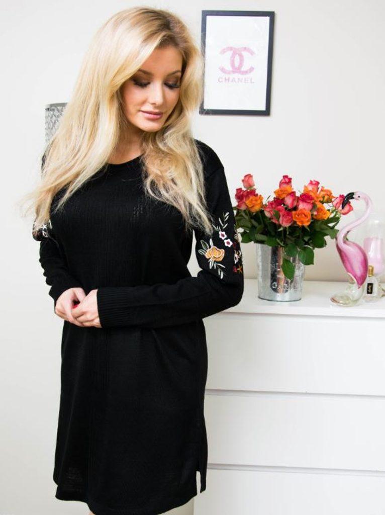 Luxusní šaty s výšivkou - black - S/M