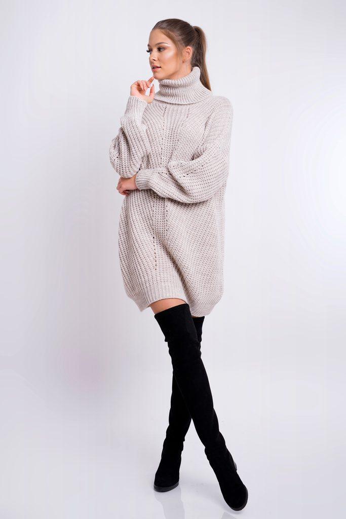 Dámské pletené šaty s rolákem - beige - UNI (S-L)