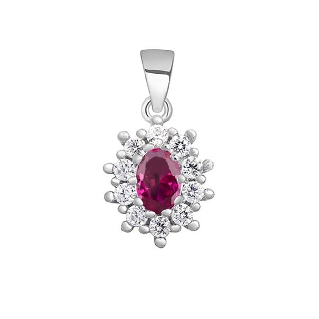 Nádherný stříbrný oválný přívěsek  - pink