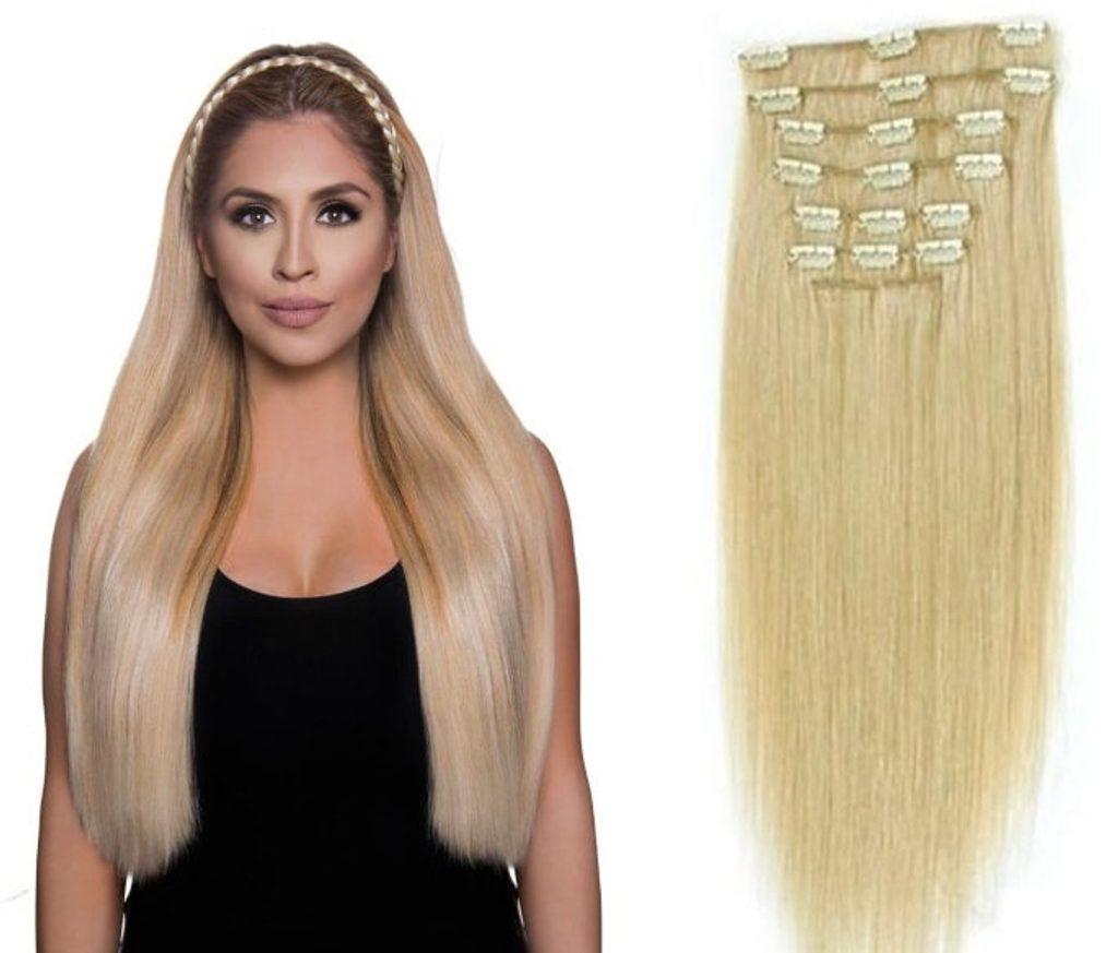 CLIP IN vlasy - 100% Lidské vlasy k prodloužení REMY, přírodní Blond - extra dlouhé 60cm