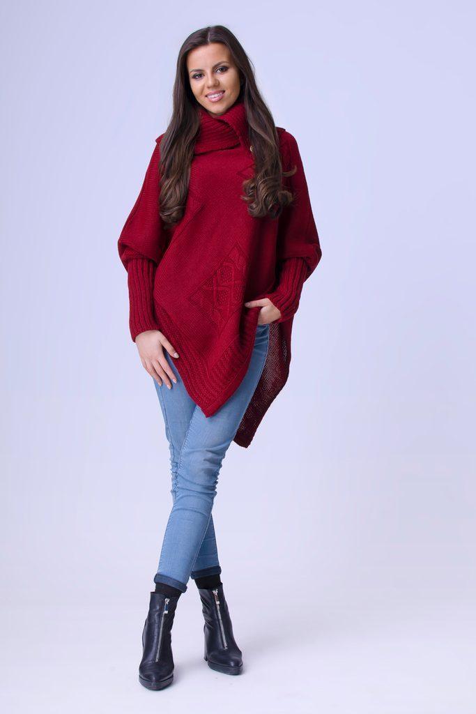 Exkluzivní dámské pončo s rukávy - UNI (S-L)  Bordó