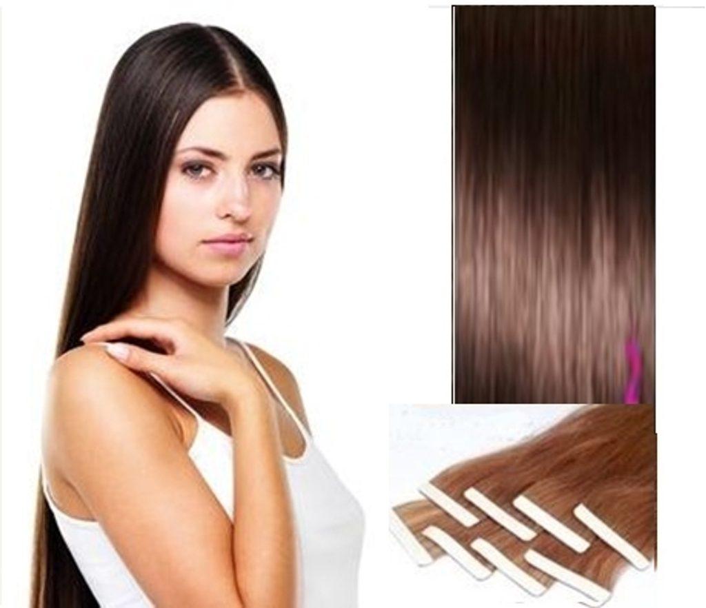 TAPEX vlasy - 100% Lidské vlasy REMY, tmavě hnědé