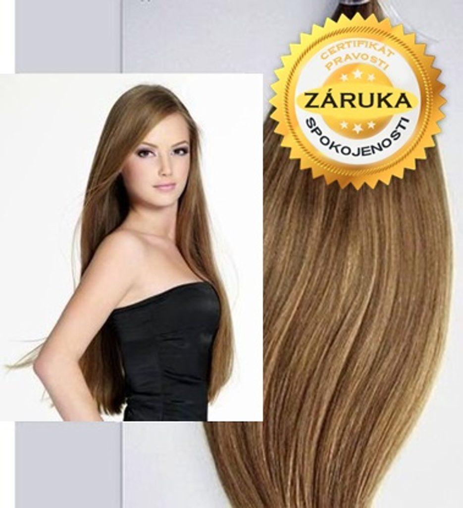 100% Středoevropské vlasy VIRGIN - světle hnědá 20 - 70cm - 65cm  Keratin FLAT tip