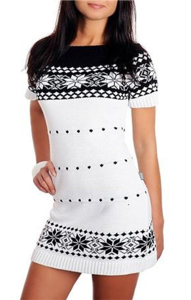 Dámské pletené šaty s norským vzorem - white - UNI (S-L)