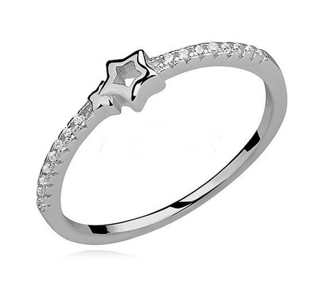 Stříbrný jemný prsten s hvězdičkou se Swarovski Elements Zirkonia - 49 mm