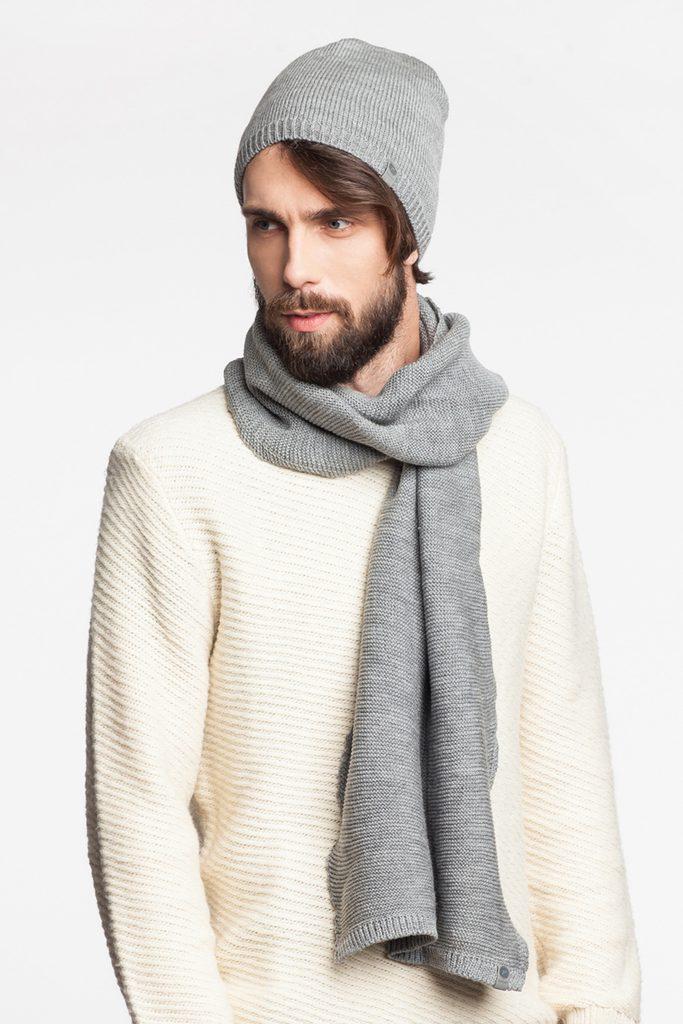 Exkluzivní pánská sada - čepice a šála - light grey