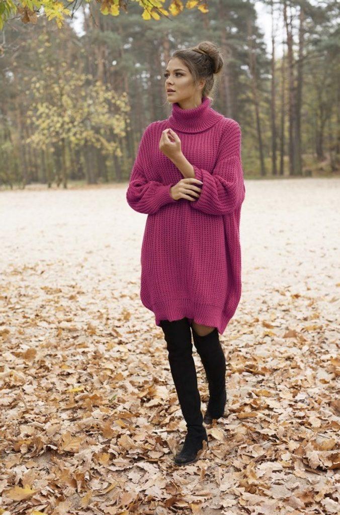 Dámské rolákové šaty - UNI (S-L)  Raspberry