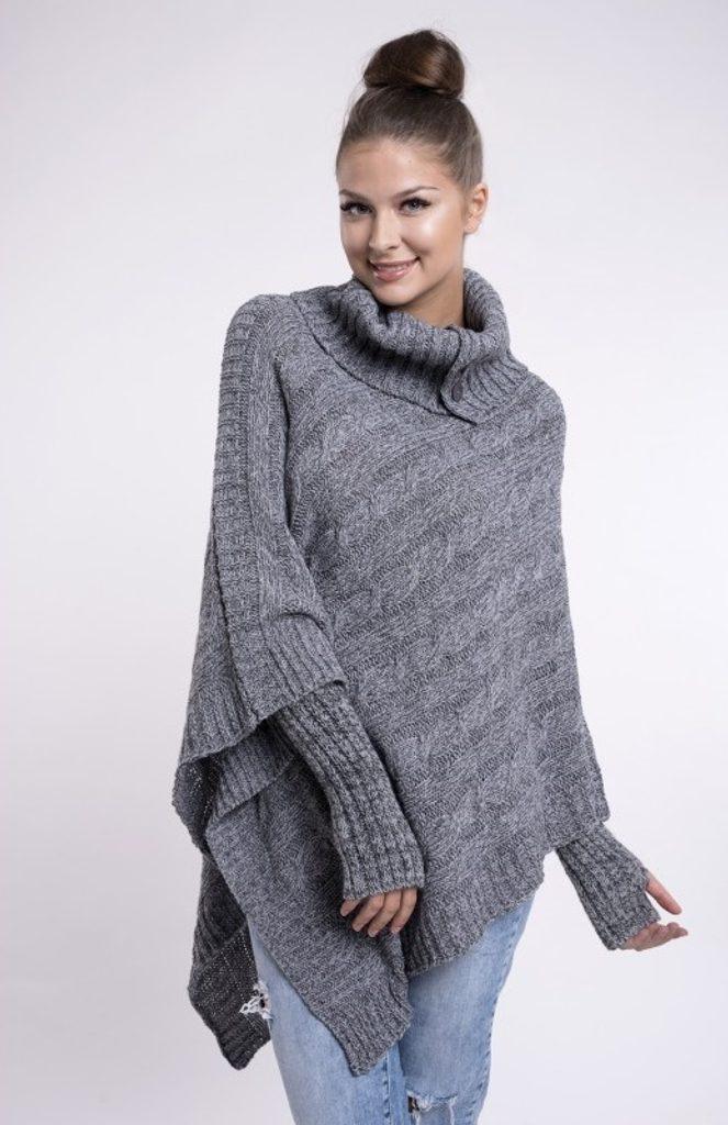 Dámské pletené pončo se sundávajicími rukavicemi - UNI (S-L)  Grey melange