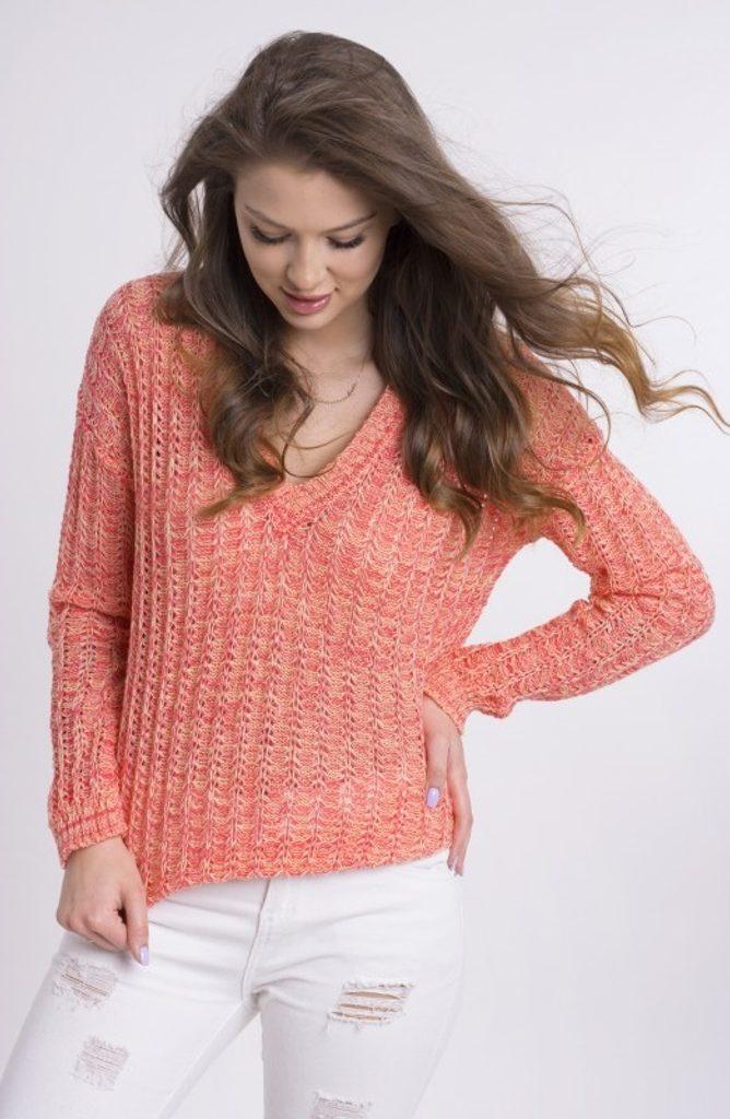 Dámský žíhaný svetřík - UNI (S-L)  Orange