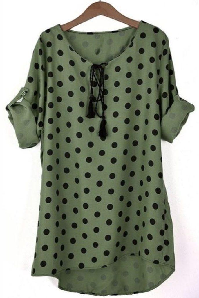 Ležérní tunika s puntíky - UNI (S-L)  Khaki