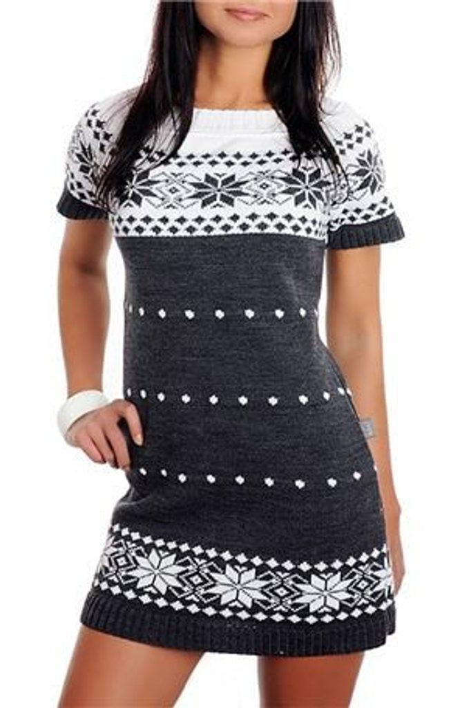 Dámské pletené šaty s norským vzorem - graphit - UNI (S-L)