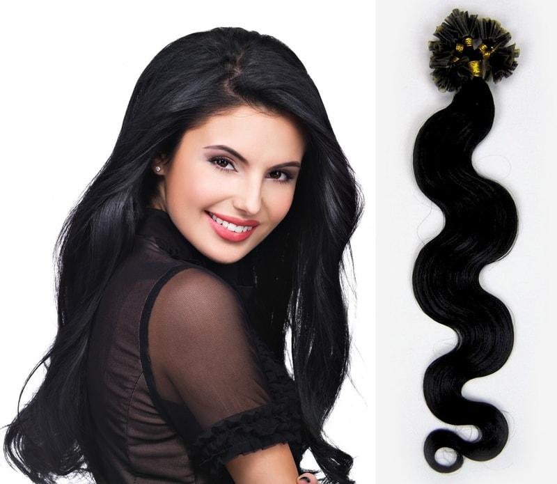 KERATIN- 100% Lidské vlasy k prodloužení REMY, černá 45cm- vlnité 100pramenů- VÝPRODEJ