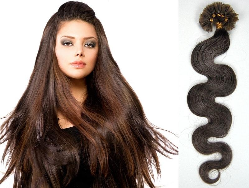KERATIN- 100% Lidské vlasy k prodloužení REMY, středně hnědá 45cm- vlnité 100pramenů- VÝPRODEJ