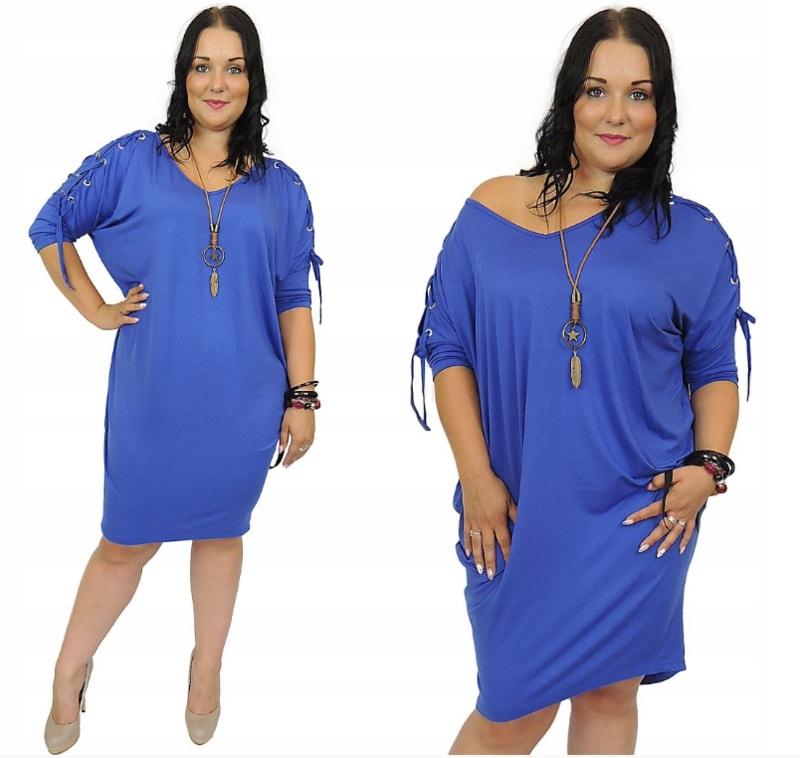 Šaty se šněrováním na rukávech - blue - 4XL/5XL