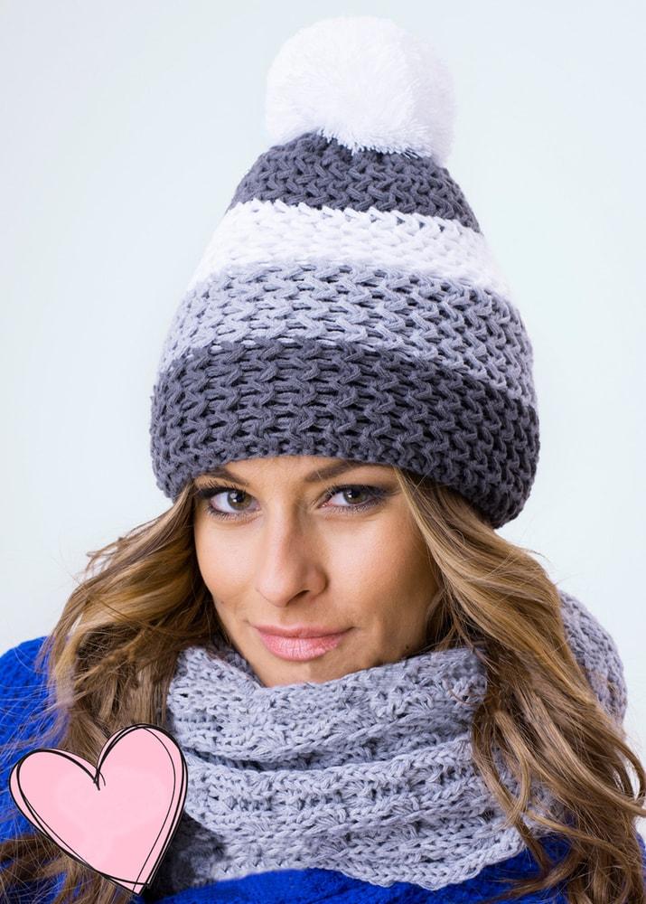 Luxusní sada čepice a šály - grey