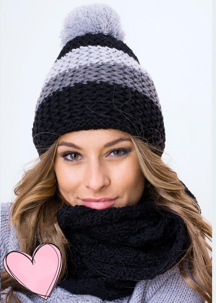 Luxusní sada čepice a šály - black