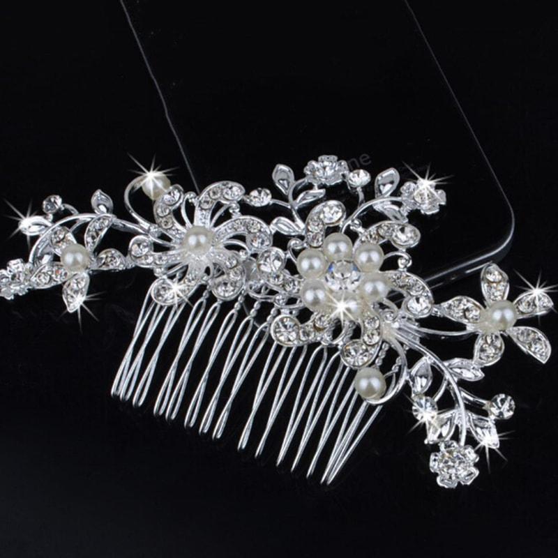 Luxusní vlásenka na hřebínku - Flower & Pearl