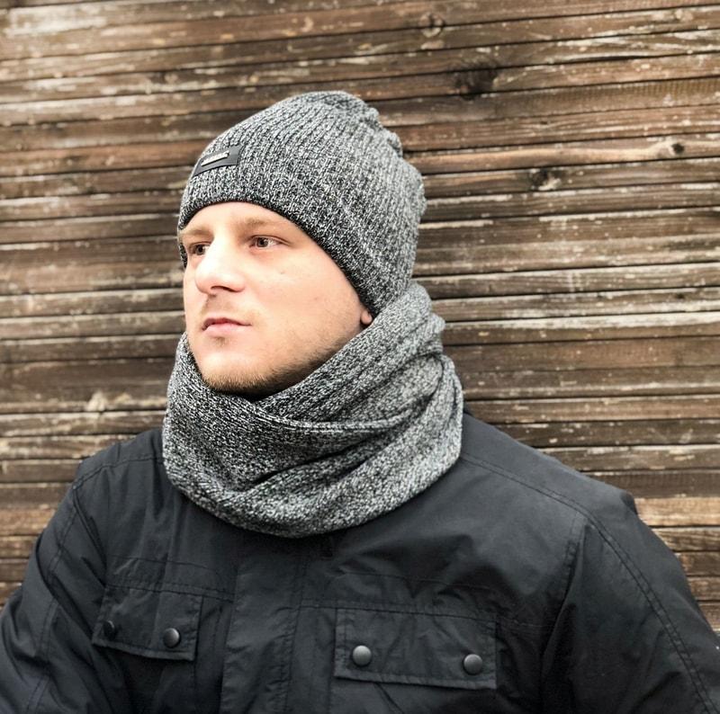 Stylová pánská sada - čepice a tunel - dark grey