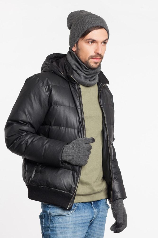 Luxusní pánská sada - čepice, tunel, rukavice - medium grey