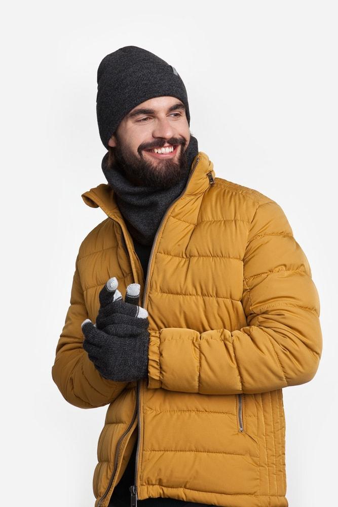 Luxusní pánská sada - čepice, tunel, rukavice - dark grey