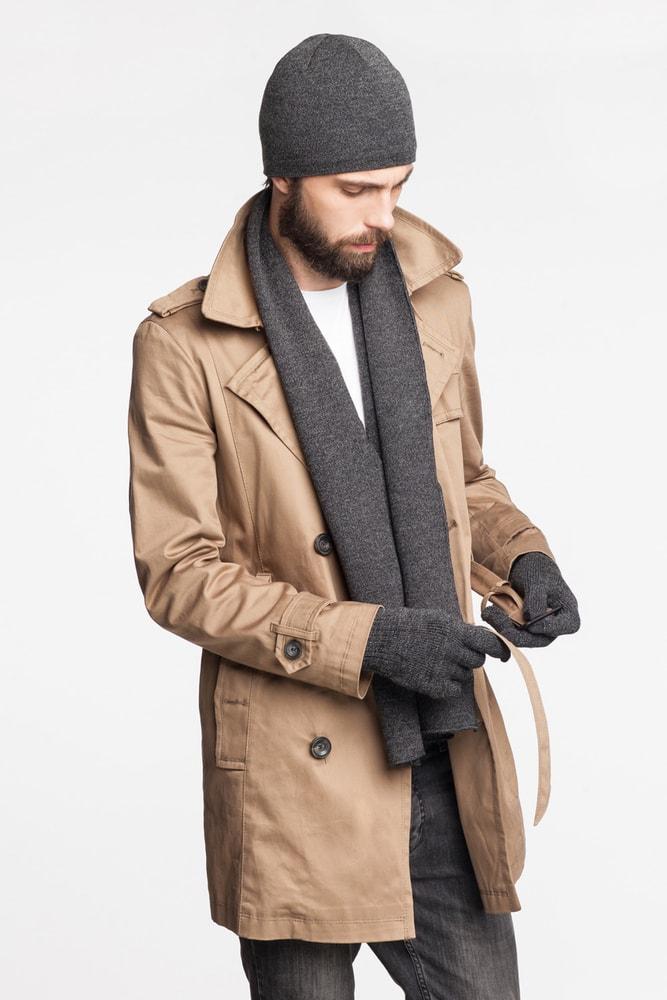 Luxusní pánský set - čepice, šála, rukavice - grey