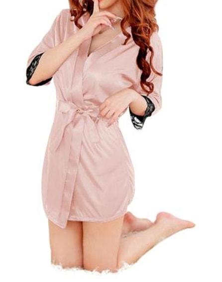 Luxusní saténový župánek s krajkou - pink