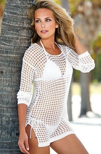 Dámská plážová tunika - white - S/M