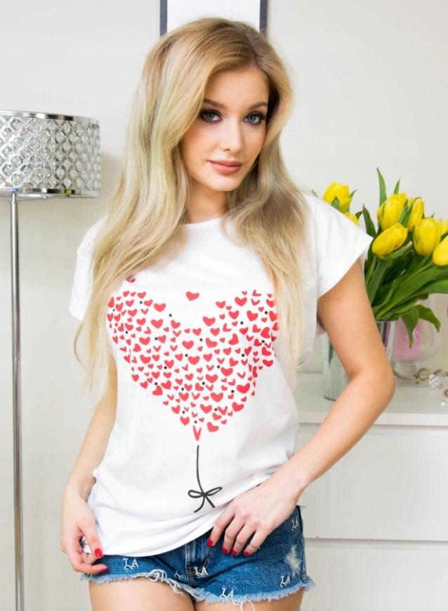 Moderní tričko s potiskem srdce - white - 4XL/5XL
