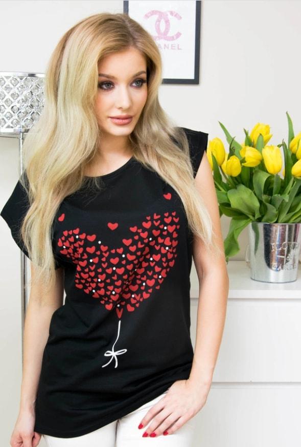 Moderní tričko s potiskem srdce - black - 4XL/5XL