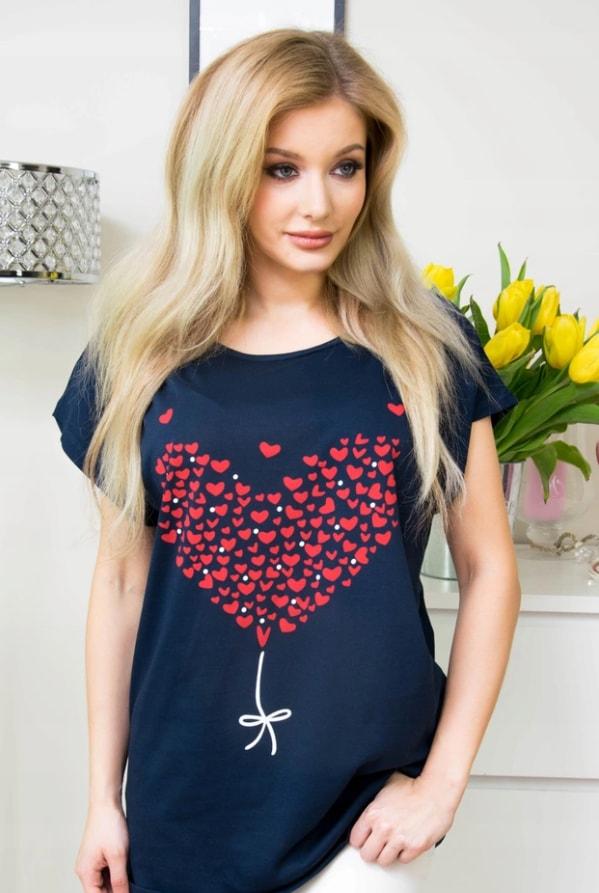 Moderní tričko s potiskem srdce - dark blue - 4XL/5XL