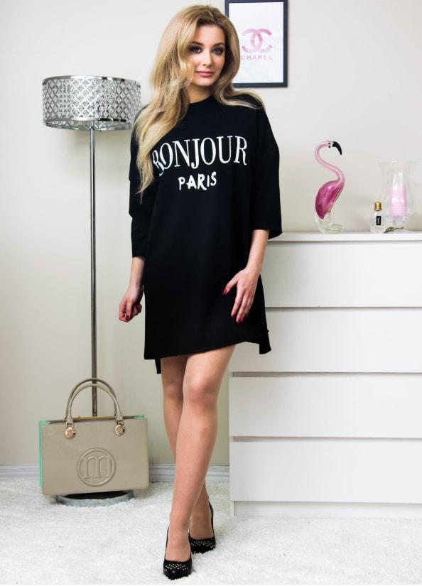 483732221 Stylové šaty s nápisem - black - 4XL/5XL