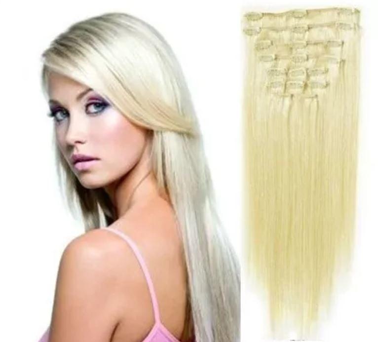 CLIP IN vlasy - 100% Lidské vlasy REMY platinová blond II. jakost