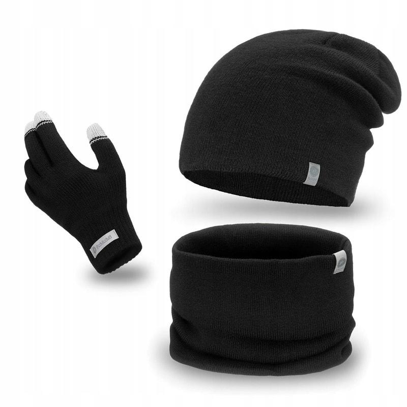 Luxusní pánská sada - beanie čepice, tunel, rukavice - black